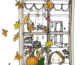 Autumn window Ink drawing with digital colour