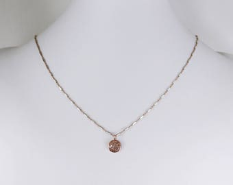 Pavé Diamond Disk Necklace Rose Gold Necklace Precious Diamond Necklace Real Diamond Necklace April Birthstone Necklace PD-N-106-rg/ss