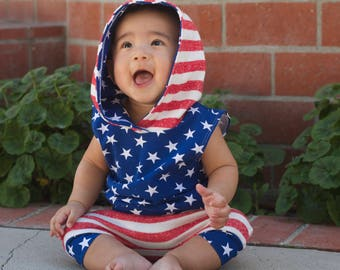 Stars and Stripes, American Flag, 4th of July Sleeveless Hoodie, Harem Shorts or Pants Baby Boy, Baby Girl, Toddler Boy Girl, Tank Top