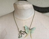 Luna Tree - Handmade Luna Moth Cotton and Silk Organza Butterflies Necklace on a Branch with Tiny Paper Rosebuds - Made To Order