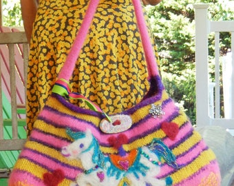 Carousel - Striped Hand Knit Felted Bag with Needle Felted Carousel Horse