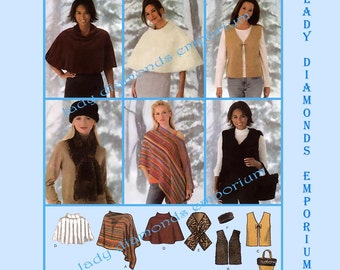 Simplicity 4781 Womens 1 Hour Gifts, Off-Shoulder Poncho Cape Style Poncho Vest Scarf Headband Bag Purse 18 20 22 24 Plus Size Sew Pattern