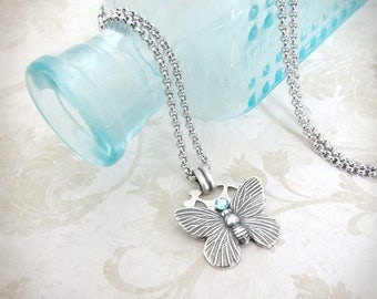 Time Flutters - Butterfly Necklace, Aquamarine Necklace, Steampunk Necklace, Cute Necklace, Minimal Necklace, Silver Butterfly Jewelry