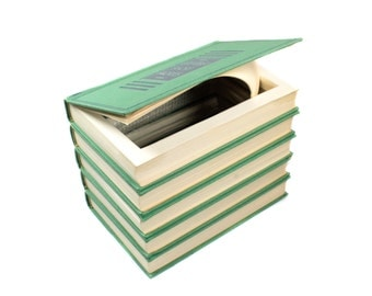 Hollow Book Box Large Vintage Stack Of 5 Green Books Handmade Secret Book Shelf Storage Wedding Card Box Large Booksafe - READY TO SHIP