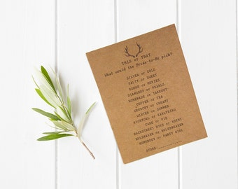 This or That Game - How Well Do You Know the Bride - Unique Bridal Shower Game - Antler Theme - Boho Bridal Shower - Pre-Order - Rustic