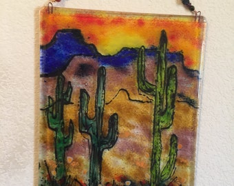 Fused glass Desert Southwest Cactus Mountains wall art plaque frit painting
