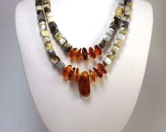 Opal and Amber Necklace   Dendritic Opal and Baltic Amber Necklace   Elegant Necklace   OOAK Necklace  