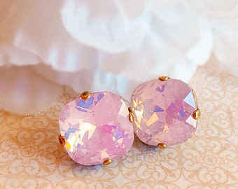 Pink Opal Stud Earrings - Swarovski - Crystal Earrings - JOLIE Pink Opal