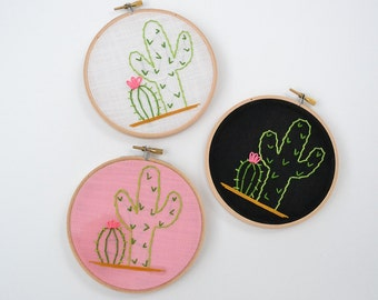 Cacti Hand Embroidery Hoop Art. Choose Pink, white, or black