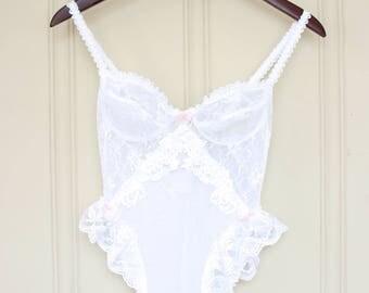 Vintage 1980's Embellished Lace Teddy - White - Vintage Lingerie