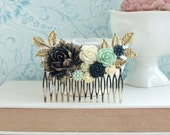 Dark Blue Navy Blue Flower Hair Comb, Gold Dusky Blue Mint Rose Gold Leaf Hair Comb, Navy Blue Wedding Something Blue Wedding Bridal Comb