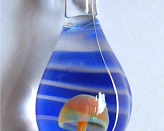 Handblown Glass Mushroom Shroom Pendant Droplet Necklace Jewelry Bead Charm Gift Amber Purple Cobalt Blue