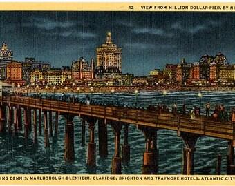 Vintage New Jersey Postcard - The Atlantic City Skyline from Million Dollar Pier by Night (Unused)