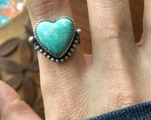 Turquoise Heart Ring Sterling Silver - size 7 - Boho Hippie Love Ponderbird