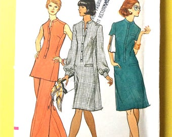 "Uncut Vogue 8899 Misses' Dress Tunic Pants Sewing Pattern  bust 34  waist 26-1/2"" hip 36 1970s Vintage Sewing Pattern"