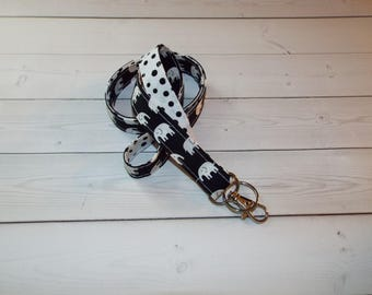 elephants Lanyard  ID Badge Holder -  Black and white elephants with black white dots  - Lobster clasp and key ring