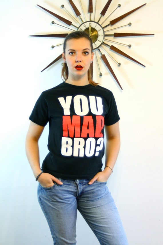 "Black ""YOU MAD BRO?"" t-shirt, 2 Mon Keys Tee, you mad bro tee, Black Cotton tee, Girls Boys Youth tee, vintage t-shirt, two monkeys, Size S"