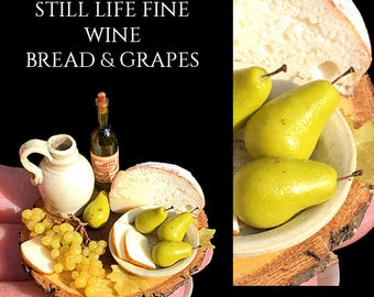 Ooak Pear & Fine Wine Still Life Platter - Artisan fully Handmade Miniature in 12th scale. From After Dark miniatures.