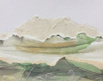 neutral color collage watercolor landscape on 5in x 5in canvas