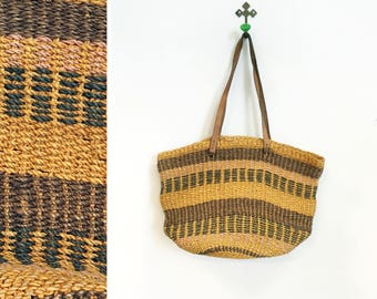 Vintage 1970s-80s Sisal/Jute and Leather Purse/ Shoulder Bag In Neutrals