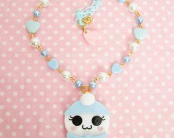 Winter Spirit of Cute Necklace in Blue with Pastel Hearts Ghost Kawaii Fairy Kei /Lolita/ Creepy Cute/ Pastel Goth