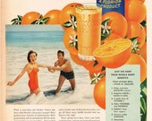 vintage mid century florida orange juice advertisement couple in love illustration digital download