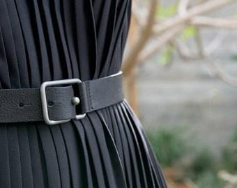 Handmade Black Leather Belt   Sam Belt   Architectural Fine Leather Belt    Modern Unisex Italian Leather   Geometric Stainless Steel Buckle