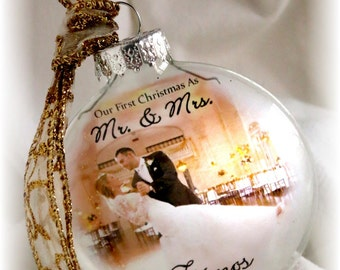 Our First Christmas as MR & MRS Married Ornament Personalized Custom Holiday Glass Photo Gift Large Like Thin Vellum or Etched Glass
