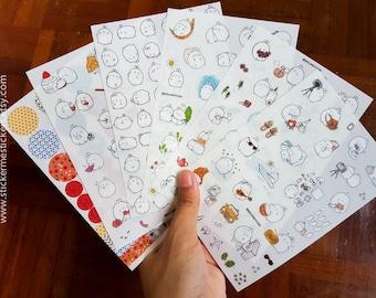 6 SHEETS, #2, Molang sticker set, Molang stickers, Rabbit stickers, Guinea Pig stickers, Animal stickers