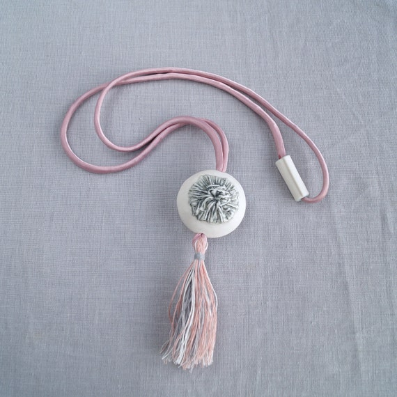 Pom pom TASSEL necklace, porcelain pendant, boho necklace, pink grey, artisan ceramic necklace grey pink satin cord linen
