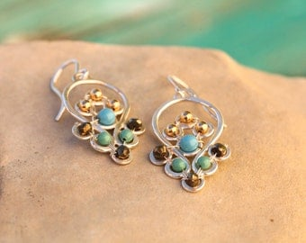 Feather Drop Earrings in Turquoise, Pyrite, Gold and Silver