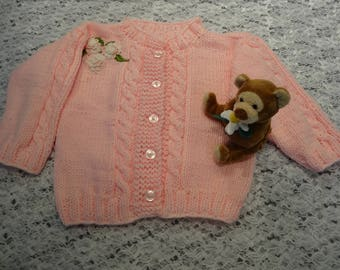 TODDLER'S PINK SWEATER, size 24 months, 5 pink pearl buttons , hand knitted in a cable stitch, acrylic baby yarn, medium weight , applique