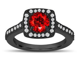 1.28 Carat Red Diamond Engagement Ring, Vintage Style Wedding Ring 14K Black Gold Halo Pave Certified Handmade