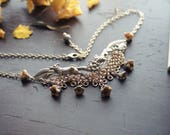 Rosegold & Czech Glass Fox Necklace - Silver - Gold - Floral - Chainmaille - Nature - Unique - Mothers Day - Prom - March - Spring - Bridal