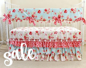 SALE Shabby Chic Roses Baby Girl Bedding Set , Cottage style nursery, Lulu Roses floral baby bedding, Shabby Chic Nursery, bumperless RTS