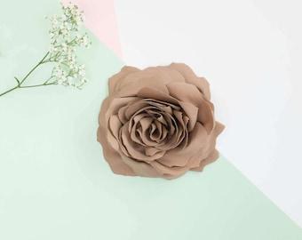 Light brown flower brooch, fabric, handmade
