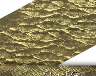"Textured Brass Wavy Ripples Pattern 24 gauge Sheet Metal 2.5"" x 12"" - Solid Brass - Great for Rolling Mills 94"