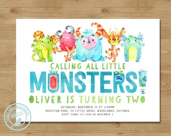 Little Monster Birthday Invitation | First Birthday Monster Party | 2nd  Birthday lil' monster Digital Invitation | Printable 1579