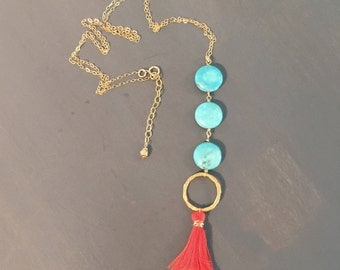 Gold Filled Circle, Turquoise Beads and Coral Tassel Necklace
