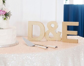 Wooden Letters for Wedding Decor, Initial Signs Freestanding Personalized Table Signs, Initials 2 Wood Letters & Ampersand (Item - INI400)