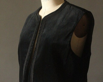 Vintage 70's Black Velvet Embroidered Trim Bohemian Open Vest by RRRRuss