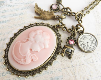 Pink cameo necklaces, romantic victorian style necklace, vintage inspired charm necklaces, gift for her, bronze jewelry