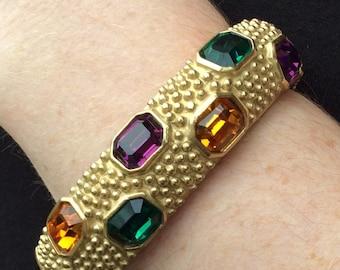 Landau Gold Bracelet with Octagon Rhinestones - Green, Purple and Topaz
