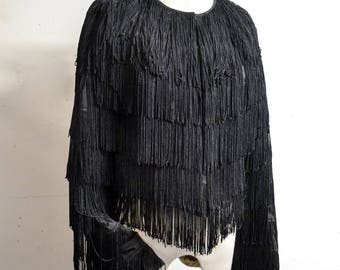 Black entirely fringed 1950s style evening jacket / 1990s tassel jacket