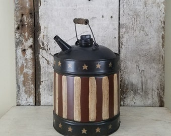 Americana painted Vintage Gas Can, Primitive Decor, Patriotic Decor, Americana Decor, Primitive Decor, Americana Painted Can, Shelf Sitter