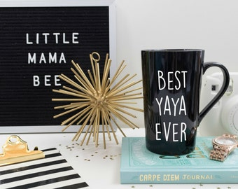Best Yaya Ever Mug, Black Coffee Mug, Gift for Grandma, Best Oma Best Mawmaw, New Grandmother Gift, Pregnancy Announcement, Personalized Mug