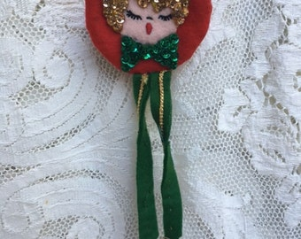 Vintage Christmas Caroler Door Knob Cover - 1950s Christmas - Vintage Christmas Door Knob Cover - Door Knob Cover