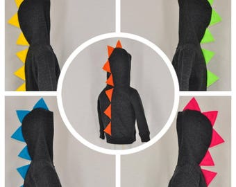 Pick Your Favorite Spike Color - Charcoal Gray/Black Dinosaur Hoodie