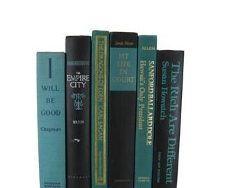 Black Blue Green Decorative Books , Black Vintage Books , Home Decor , Old Books , Vintage Photo Props , Table Setting , Wedding Decor