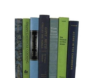 Blue Home Decor, Blue Green Book Set, Decorative Books , Vintage Books , Instant Library , Wedding Decor , Shabby Chic Decor